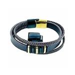 bracelet-acier-doré-et-blanc-triple-cuir-réglable- (4)