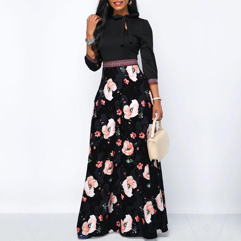 Femmes-longues-Maxi-robes-boh-me-col-creux-trois-quarts-manches-imprim-fleuri-ethnique-t-plage