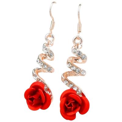 Boucles D\'oreilles rose rouge Déclaration