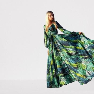 robe-longue-fleurie-verte