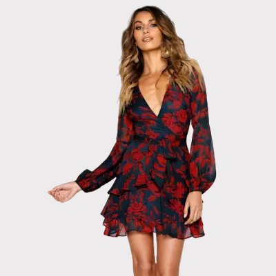 robe-courte-fleurie-rouge