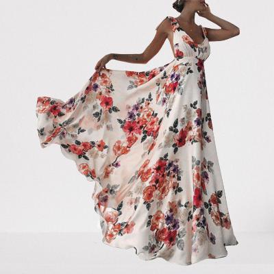 Robe longue aux imprimés floraux