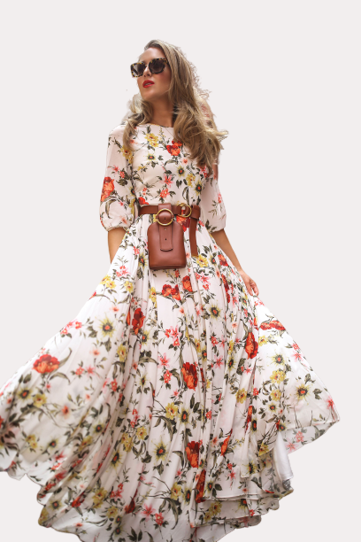 Longue robe à fleurs de plage