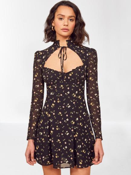 robe courte fleurie en mousseline de soie