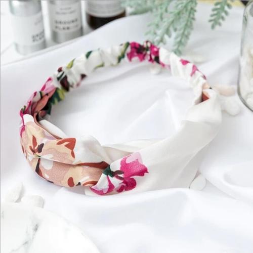 Bandeau fleuri rose et blanc