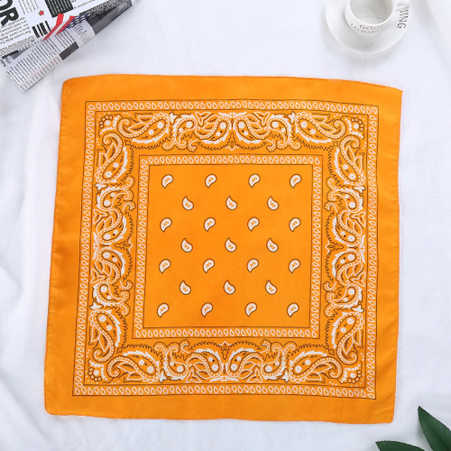 Bandana fleuri orange clair