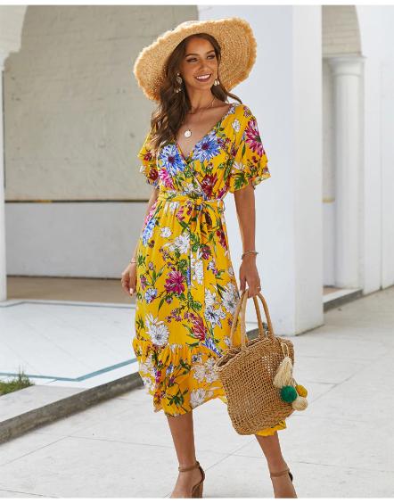 Robe Midi Fleurie Jaune Robes Fleuries Robes Mi Longues Fleuries Flower Corner