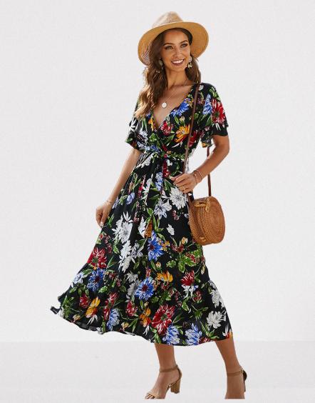 robe-a-fleurs-midi-noire