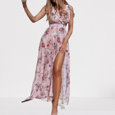 Longue robe fleurie fendue