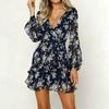 KANCOOLD-robe-femmes-Floral-feuille-imprim-lanterne-manches-Empire-robe-dames-d-t-plage-d-contract