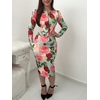 Mode-femmes-robe-florale-O-cou-manches-longues-taille-haute-robe-glissi-re-Sexy-dames-f