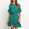Volants-robe-imprim-e-florale-femmes-t-manches-courtes-col-rond-ceintures-robe-dames-Mini-Boho