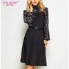 S-Saveur-femmes-automne-hiver-Vintage-robe-a-ligne-pas-de-ceinture-l-gant-fleur-imprim