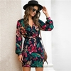 SHEIN-col-en-V-imprim-fleuri-d-contract-ceintur-robe-crayon-femmes-automne-Streetwear-taille-haute