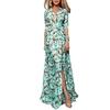 Femmes-imprim-fleuri-Maxi-robes-2020-boh-me-demi-manches-col-en-V-robe-lacets-dames