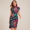 SHEIN-multicolore-col-montant-forme-ajust-e-robe-imprim-e-florale-femmes-printemps-casquette-manches-moulante