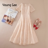 Young-Gee-blanc-rose-robe-en-dentelle-f-te-mignon-femmes-l-gantes-perles-perles-broderie