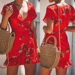 Mini-robe-fleurie-rouge