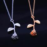 Nouveau-Rose-Or-Rose-Fleur-Ras-Du-Cou-D-claration-Collier-Bijoux-Collier-Femme-Femmes-Charme
