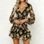 robe-fleurie-courte-jaune