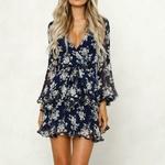robe-fleurie-courte-bleue