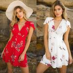 robe-fleurie-courte-col V