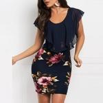 Mini-robe-fleurie-sexy-bleue