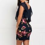 Mini-robe-fleurie-moulante-bleue