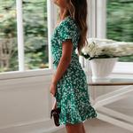 robe-fleurie-courte-verte
