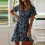 robe-fleurs-courte-bleue