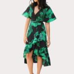 robe-fleurie-verte-noire