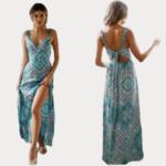 robe-longue-fleurie-bleue