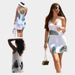 robe-courte-fleurie-blanche-verte