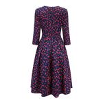 S-Saveur-femmes-l-gant-a-ligne-robe-Midi-Vintage-impression-parti-vestidos-trois-quarts-manches