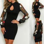 mini-robe-fleurie-moulante-noire