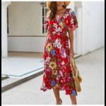 robe-midi-fleurie-rouge-pas-cher