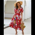 robe-midi-fleurie-rouge-femme