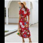 robe-midi-fleurie-rouge-été