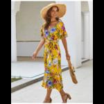 robe-fleurie-longue-jaune