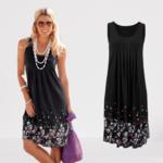 robe-fleurie-midi-sans-manches-noire