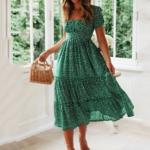 robe-de-plage-fleurie-verte-femme