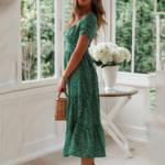 robe-de-plage-fleurie-verte