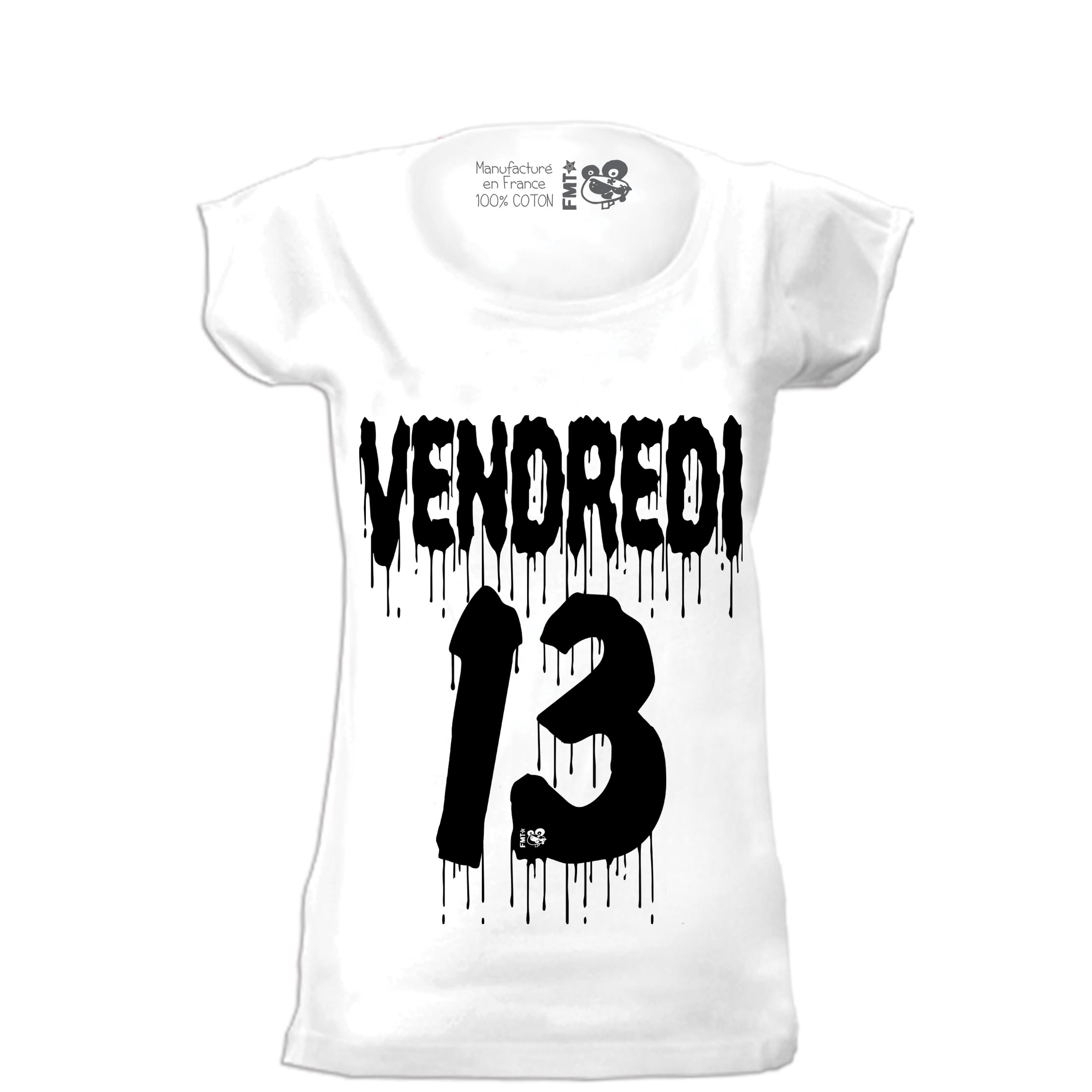11-FMT-VENDREDI13-TSHIRT-BLANC/NOIR-FEMME