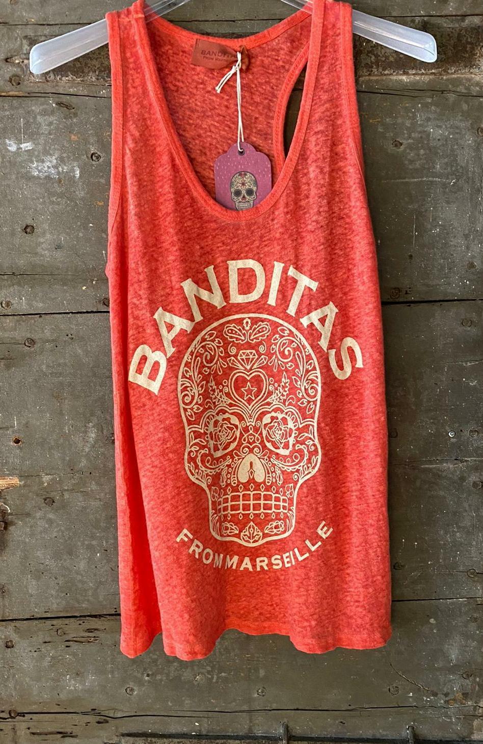 Débardeur SKULL MEXICO corail fluo Banditas