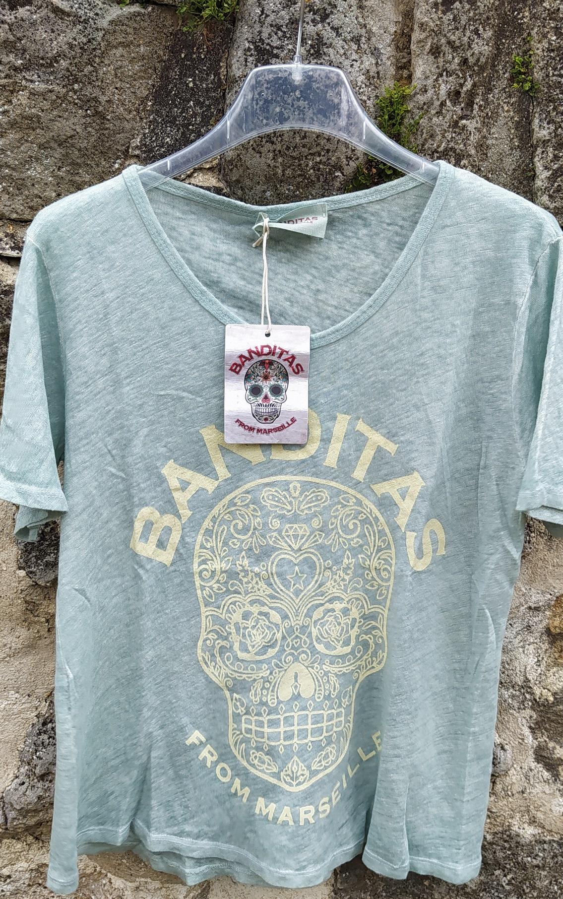T-shirt SKULL MEXICO vert Bandiras