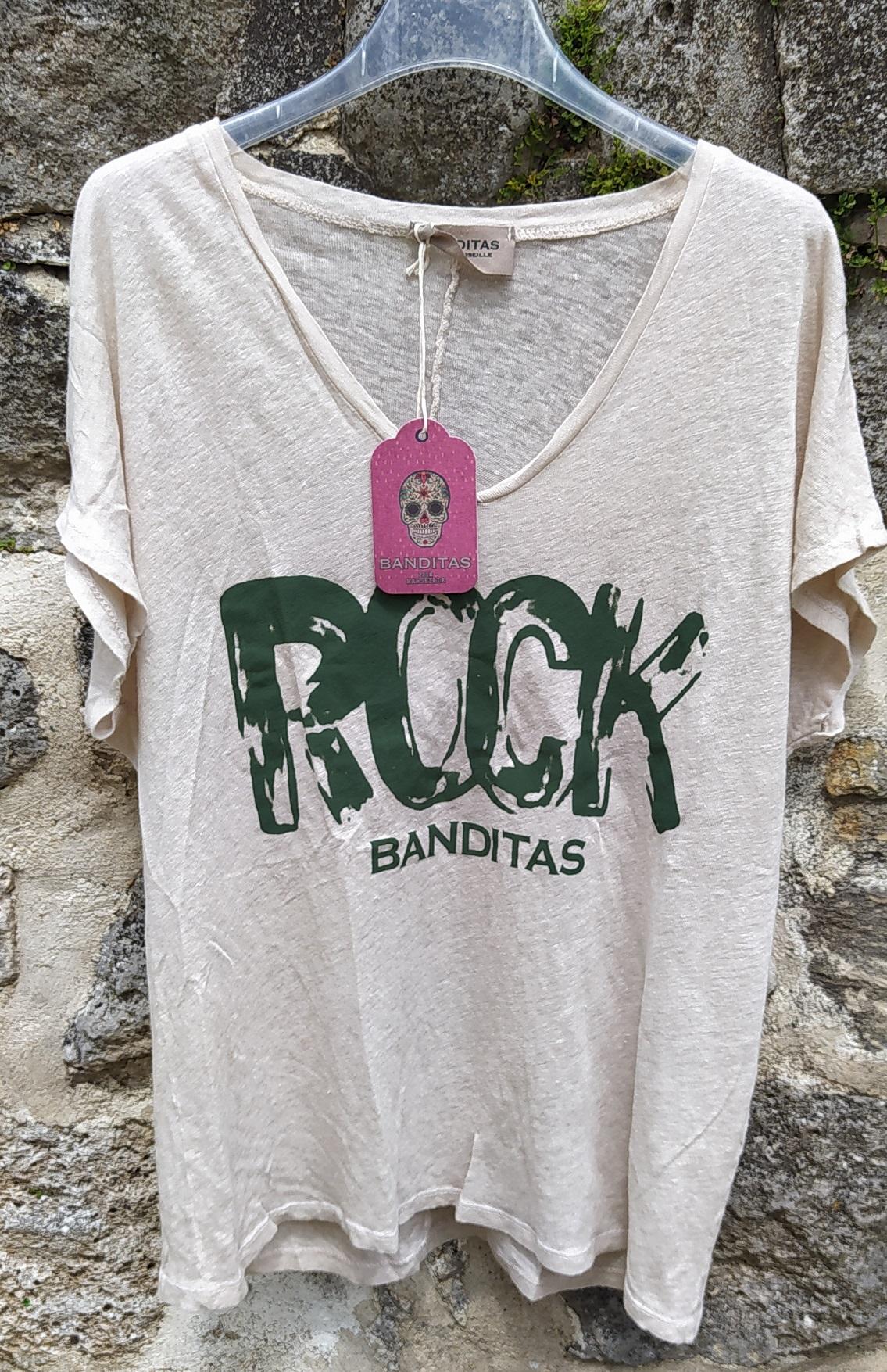 T-shirt ROCK beige Bandiras