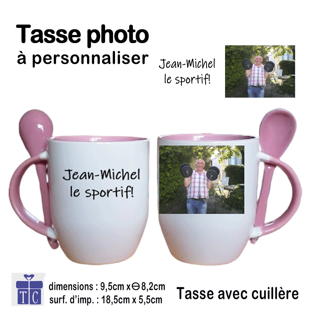 Mug rose bicolore avec une photo
