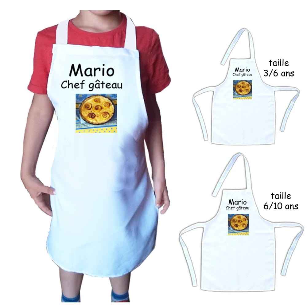 Tablier cuisine enfant personnalisable avec une photo