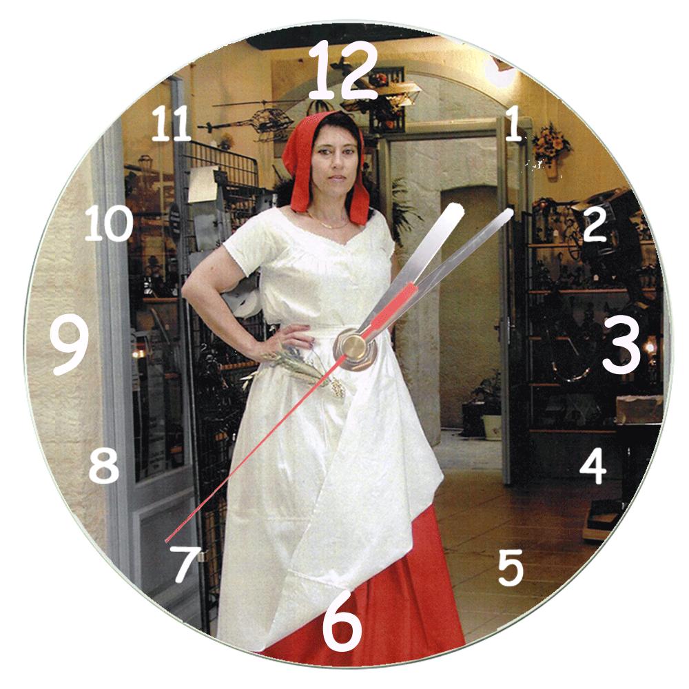 Horloge en verre avec une photo