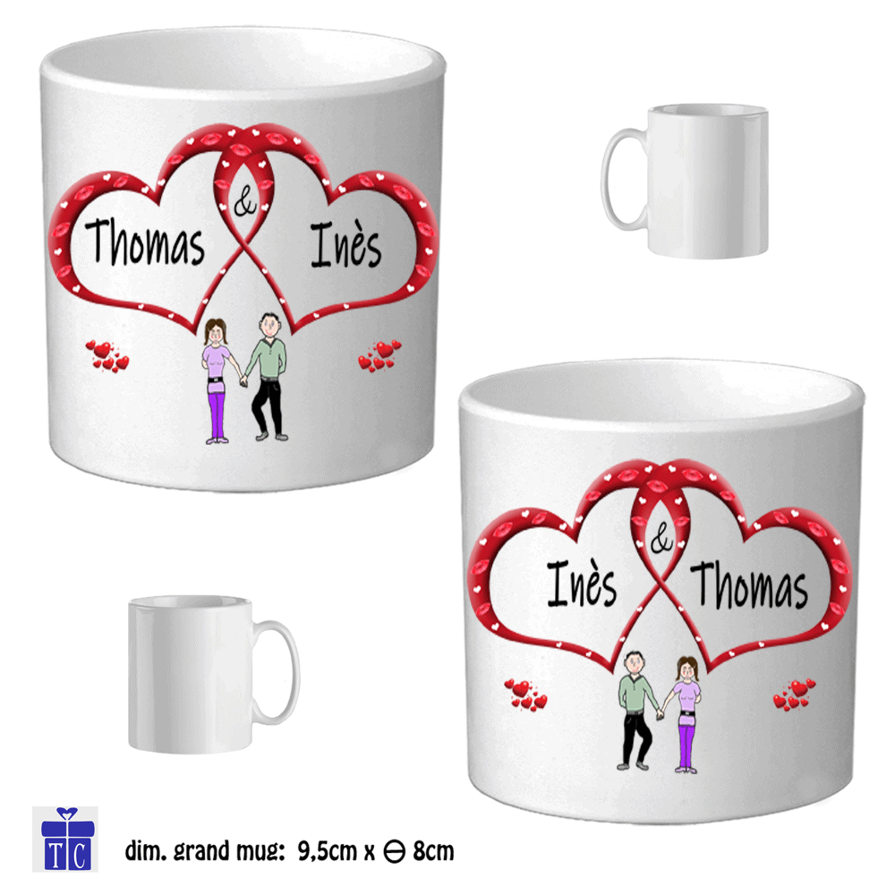 Duo de mugs personnalisables exemple Ines Thomas ou Thomas Ines